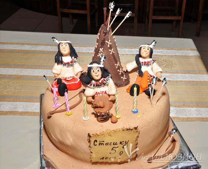Кенди бар и торт на заказ на День рождения ребенка Киев в стиле Индейцев
