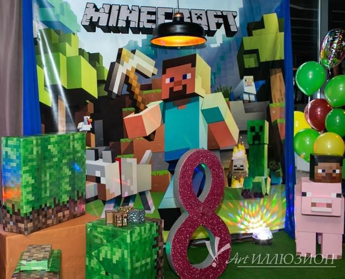 Аниматоры Киев на детский праздник в стиле Minecraft