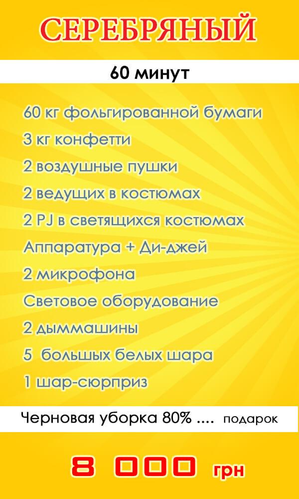 """Пакетное предложение Бумажное серебряное шоу """"Серебряный"""""""